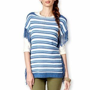 American Living Striped Boat-Neck Fringe Sweat S M
